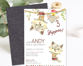 Birthday Party Invitations/Packages - Wild Adventurer Racoon (Style 13921)