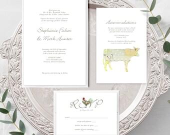 Farm Vintage (Style 13344) - Wedding Invitation + RSVP + Insert