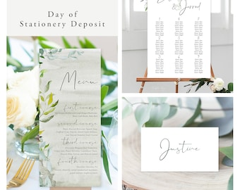 Simple Greenery (Style 13951) - Day of Stationery Deposit Add On