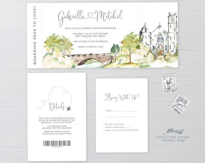 Wanderlust/Come Fly with Us - Ticket Invitation + RSVP + Insert (Style 13960)