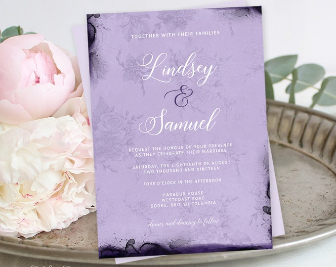 Reserved for Kaitlin - Wedding Invitations - Opulent Violet (Style 13854)