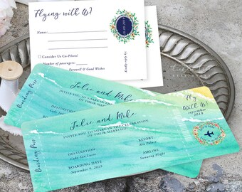 Wedding Invitations/Boarding Tickets - Wanderlust - Tropical Breeze (Style 13836)