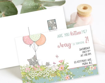 Birthday Party Invitation Postcards - Are You Kitten Me (Style 13810)
