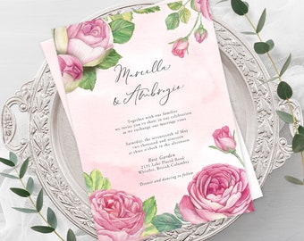 Wedding  Invitations - Vintage Rose (Style 13694)
