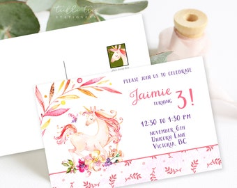 Birthday Party Invitation Postcards - Unicorn Dreams 2 (Style 13753)
