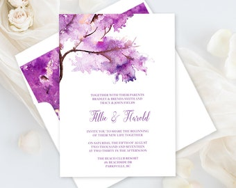 Printable Wedding Stationery - Purple Autumn (Style 13706)