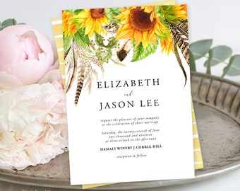 Printable Wedding Stationery - Sunflower Fields (Style 13627)