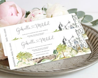 Wedding Invitation Boarding Ticket (DEPOSIT) - Destination Romantic Castle (Style 13960)