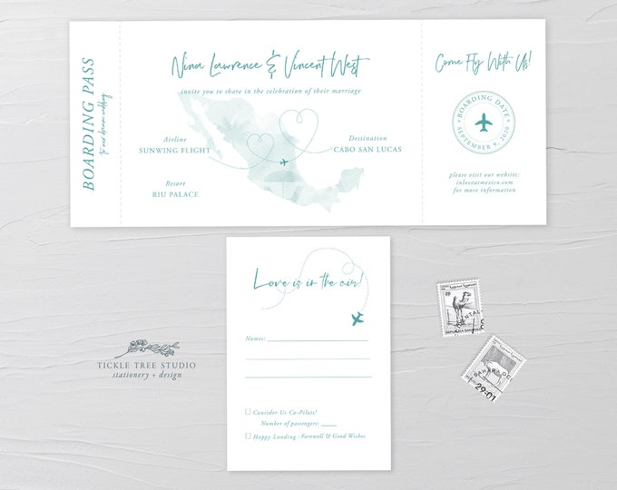 Wanderlust/Come Fly with Us - Ticket Invitation + RSVP (Style 13884)