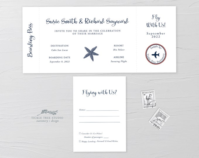 Wanderlust/Come Fly with Us - Ticket Invitation + RSVP (Style 13769)