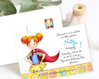 Birthday Party Invitation Postcards - Our Superhero (Style 13441)