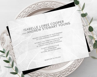 Wedding Invitations - White Leaf Print (Style 13656)