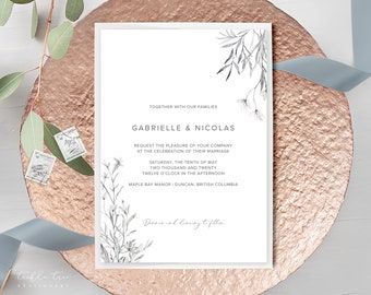 Wedding Invitations - Wild Garden/Pencil Drawings (Style 13980)