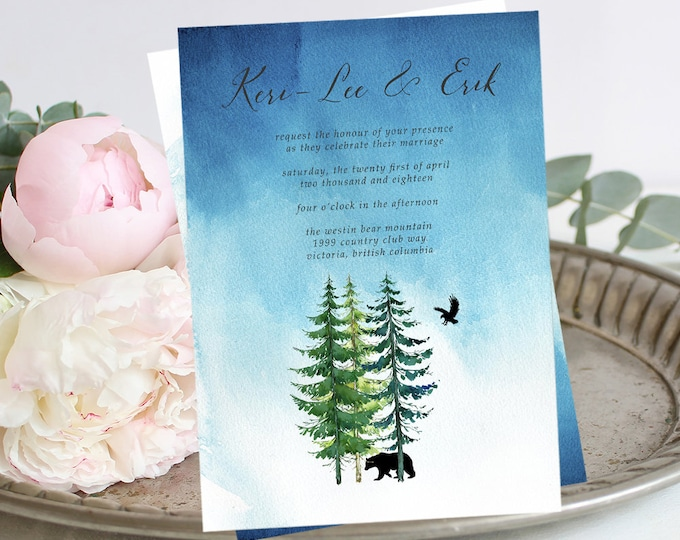 Wedding Invitations - Makwa River/Bear Spirit (Style 13518)