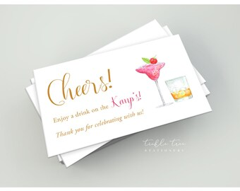 Drink Tickets - Cheers, Have a Drink on Us! (Style 01)