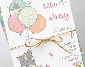 Birthday Party Invitation Packages - Are You Kitten Me (Style 13810)