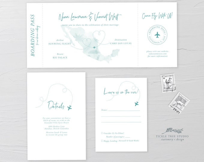 Wanderlust/Come Fly with Us - Ticket Invitation + RSVP + Insert (Style 13884)