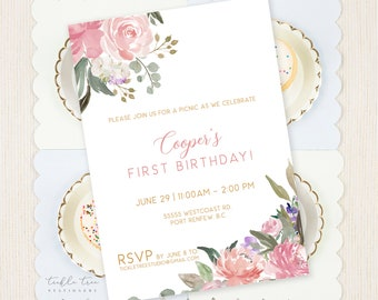 Birthday Party Invitations - Pretty in Pink Garden (Style 13942)