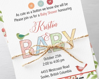 Baby Shower Invitation Packages - Cute as a Button (Style 13226)