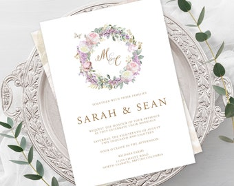 Wedding  Invitations - White Rose & Gold (Style 13806)