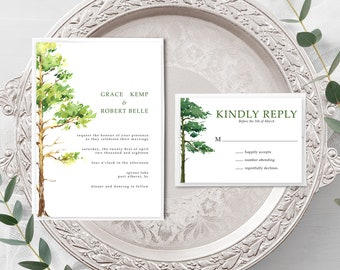 Forest Dreams (Style 13777) - Wedding Invitation + RSVP