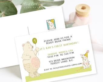 Birthday Party Invitation Postcards - Bear Birthday Bash (Style 13695)