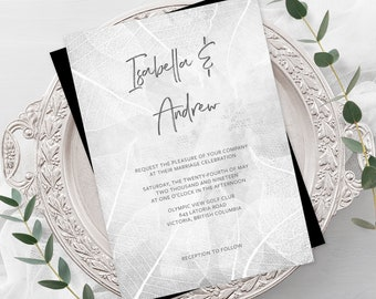 Wedding Invitations - White Leaf Print (Style 13655)