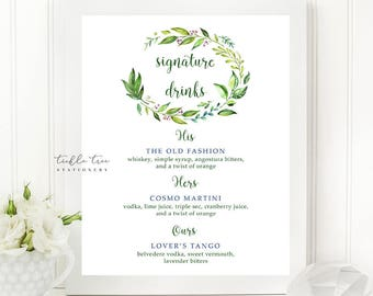 Printable Signature Drinks Sign - Breezy Leaf