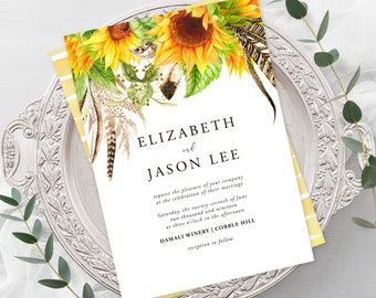 Wedding  Invitations - Sunflower Fields (Style 13627)