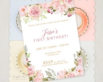 Birthday Party Invitations - Pink Rose Garden (Style 13943)
