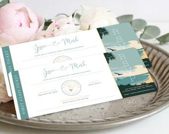 Wedding Invitation Boarding Ticket (DEPOSIT) - Destination, Paradise (Style 13914)