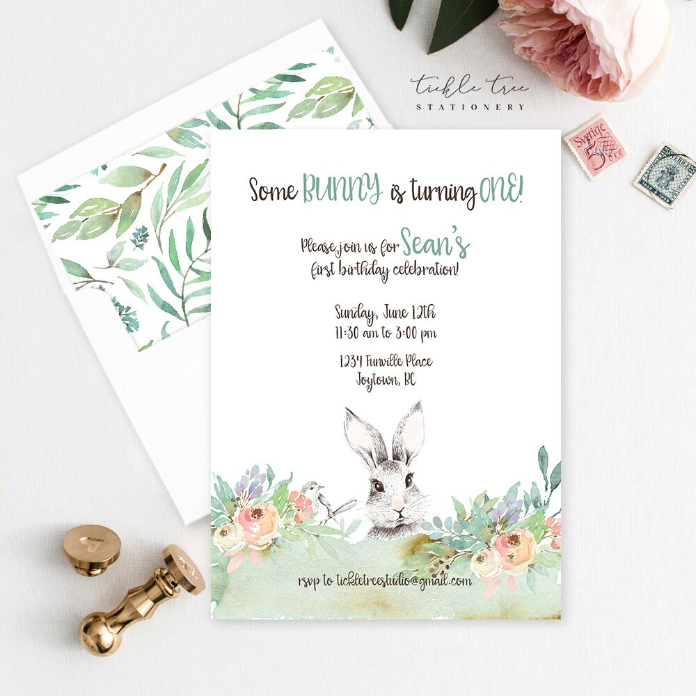 Birthday Party Invitations - Some Bunny is Turning One (Style 13856)