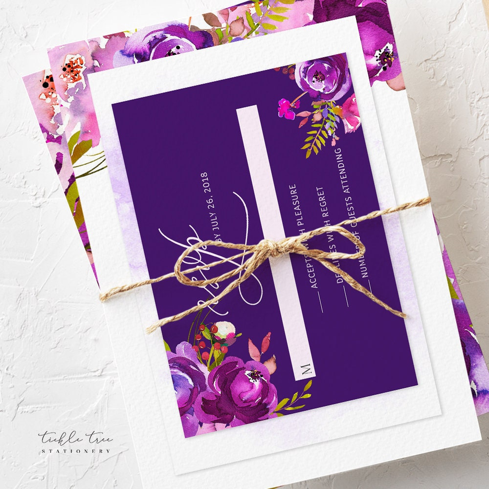 Table Number Cards Purple Passion Style 13785