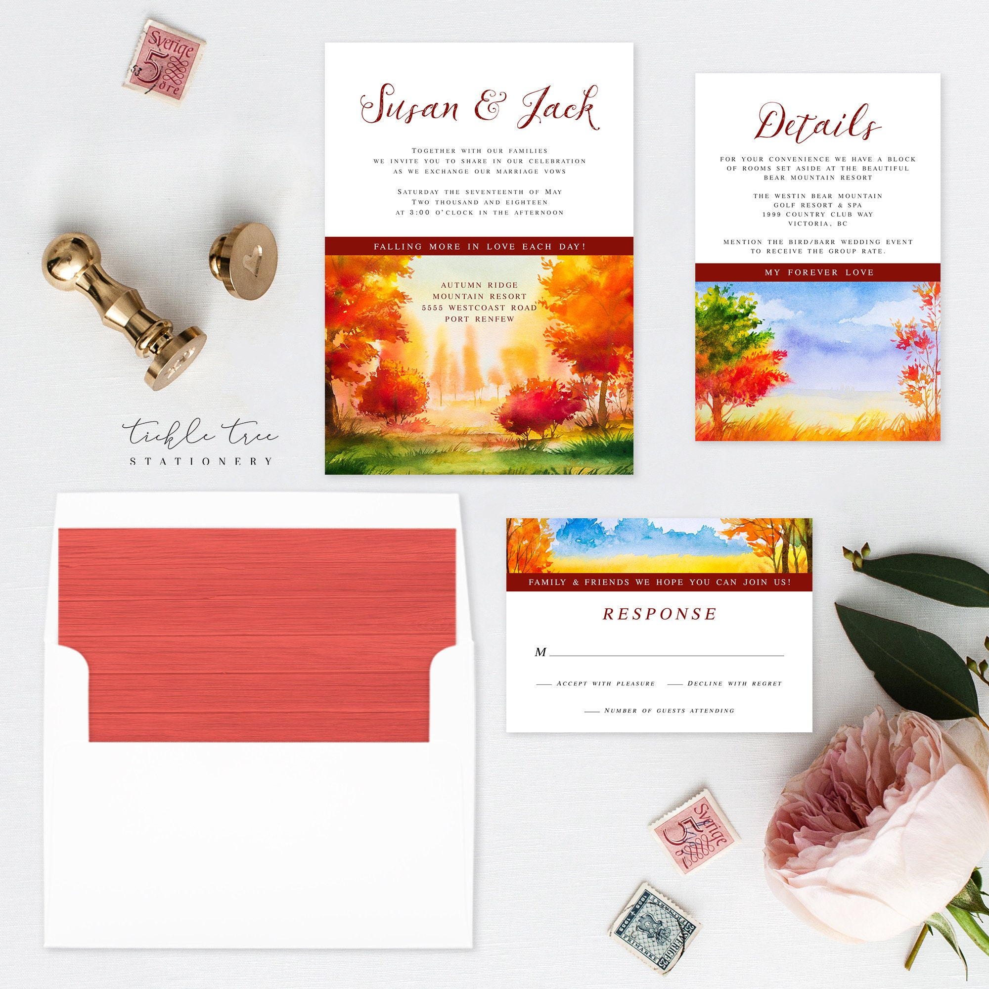 Printable Wedding Stationery - Falling In Love (Style 13562)