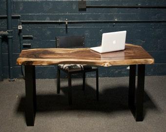 Live Edge Black Walnut DESK CUSTOM Built- Reclaimed Wood - Rustic - Seattle