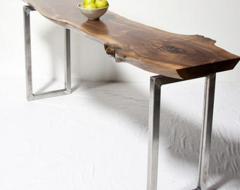 Live Edge CONSOLE Table -YOUR CUSTOM Black Walnut   - Reclaimed - Rustic - Seattle