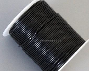 dd081fce304 1.3mm Round LEATHER Cord - 15 Yards   45 Feet BLACK Real Leather Cording -  Diy Gypsy Boho Rings Chocker Necklaces Wrap Bracelets