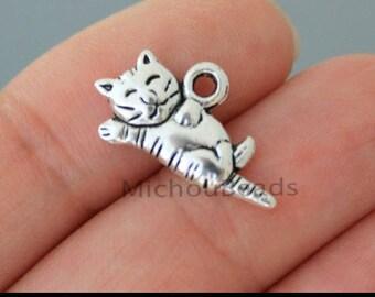 Striped Cat Lying Down Tiger Kitten Kitty Dangle Charm for European Bracelets