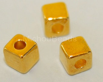 25 Tibetan Style 4mm SQUARE Cube Seed Beads - 4x4mm Bright GOLD Large 1.6mm Hole - Nickel Free Square Cube Metal Boho Bead - USA - 5633