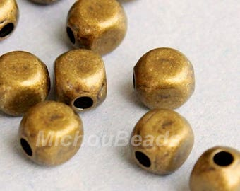 100 ANTIQUED Gold 4mm SQUARE Round Metal Beads - Gold Rounded Cube Beads -  Wholesale Metal Beads - Instant Shipping from USA - 5328