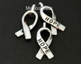 18x7mm Lead Nickel Free Metal HOPE Charm Pendant w Loop 2 Antiqued Silver 18mm AWARENESS Ribbon Charm USA Instant Ship 5590