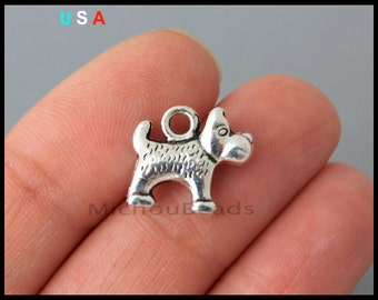 10 x Tibetan Silver SCOTTY SCHNAUZER HIGHLAND TERRIER DOG 3D 13mm Charms Beads
