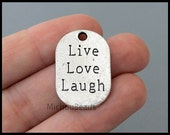 5 LIVE Laugh Love Tag Charm Pendant - 26mm Stamped Carved Word Message Inspiration Metal - Instant Ship - Usa Wholesale DIY - 6450