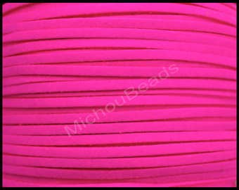 5 Metres of 3mm wide Glitter Powder Faux Suede Cord Cerise Pink
