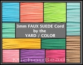 3mm Faux Suede Cord - 3x1.5mm Flat micro Fiber Faux Suede Leather Ribbon Jewelry Cord By the Yard - Pick COLOR LENGTH - Usa Instant Ship