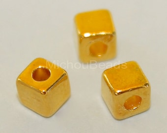 5 Tibetan Style 4mm SQUARE Cube Seed Beads - 4x4mm Bright GOLD Large 1.6mm Hole - Nickel Free Square Cube Metal Boho Bead - USA - 5633