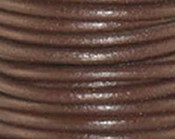 3 Yards - CHOCOLATE Brown 1.5mm Round LEATHER Cord - 3 Yards / 9 Ft -  Lead Free leather Cord by the Yard - Wholesale USA Seller