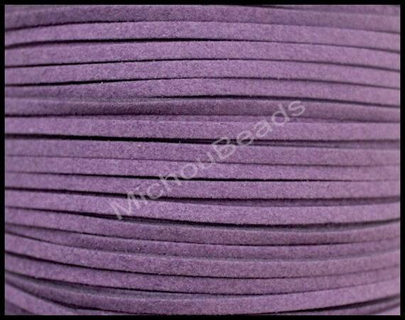 5 YARDS - cordon en suédine prune foncé 3mm - 15 pieds 3x1.5mm plat microfibre Suede cuir ruban cordon - bijoux bricolage par les États-Unis Cour