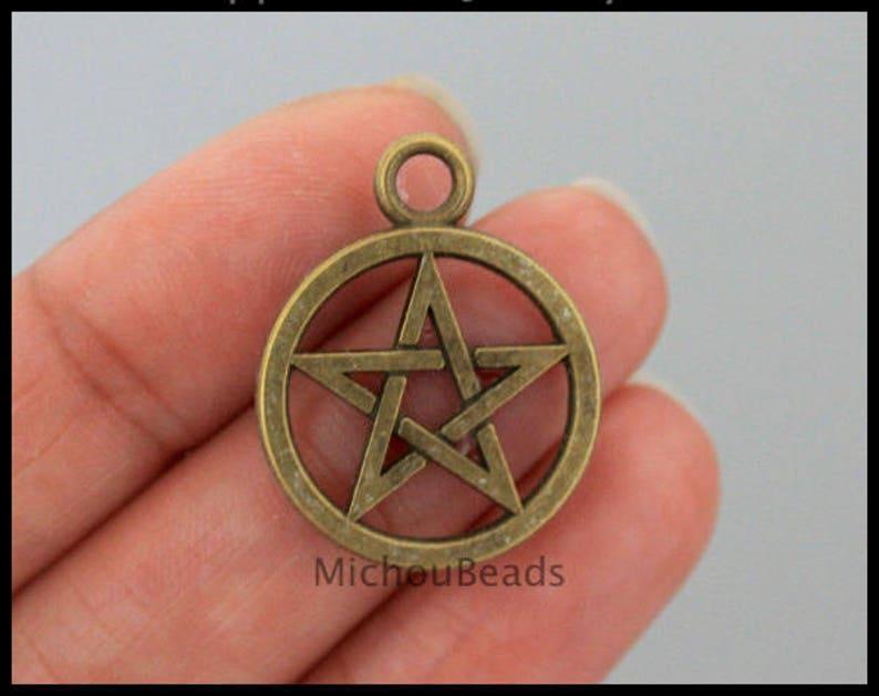 26mm Round Star Circle Metal Pendant Charms 6511 USA DIY Wholesale Craft Beading Instant Ship 1 Bronze PENTAGRAM Charm Pendant