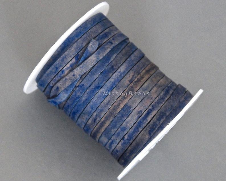 3 yards  9 Feet DARK DENIM  Blue Distressed 5x1mm Indian Leather for Diy Gypsy Boho Wrap Bracelet Jewelry 5mm FLAT Leather Cord